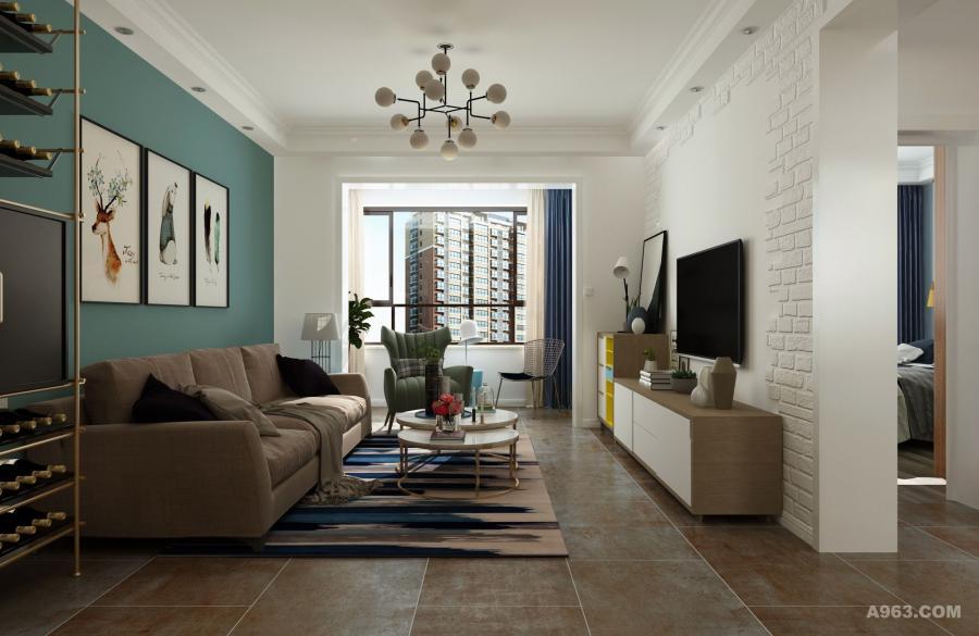 客厅设计北欧风情十足,多采用直线条家居体现简洁、大方。从颜色分布上用7:3的黄金比例来进行分割,使空间呈现满满的立体感。在结构上,把客厅和阳台进行串联,不仅使客厅的实用空间增大,视野更加开阔,还增加了房屋的自然采光,更起到很好的通风效果。