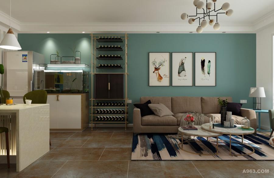 蓝绿色的背景墙总是使视觉神经放松下来,别具一格的酒架显示出主人的爱好与品位。素雅的布艺沙发一看就是休息的最佳场地。具有现代艺术感的客厅地毯也恪尽职守的发挥着作用,提亮空间色彩,使局部视觉效果更聚焦,功能划分更加清晰。