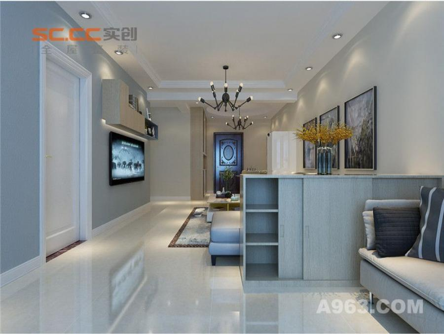 实创装饰丨汇君城90㎡两居室现代风格装修-客厅整体装修效果图