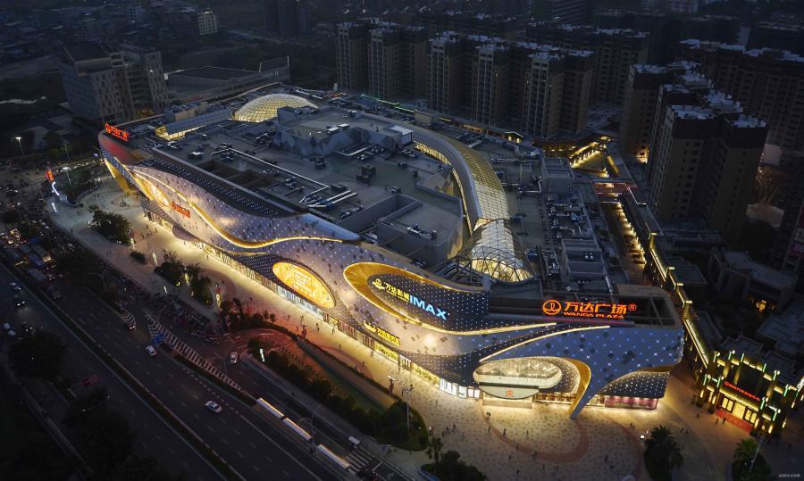 桂林高新万达广场夜景照明设计实景图