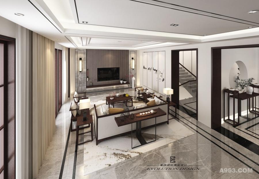 不管是餐厅还是客厅或其他空间的家具摆放,都能从中体味到徽派设计的文化含蕴。家具在选择是都是成套选择并以对称的布局摆放,几、椅、橱、柜、架等也是成对的选择。
