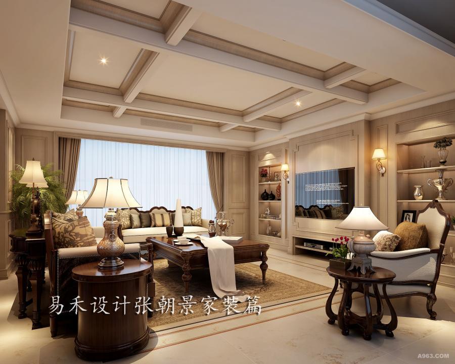 客厅以浅色为主色调,充满美式元素的客厅吊顶让空间显得华贵。明亮而又恬静,色彩和谐没有突兀。