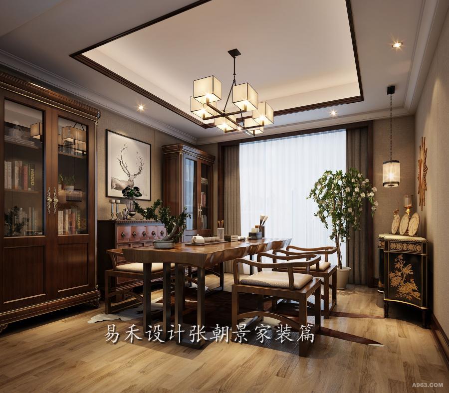 休闲区根据主人的喜好,设置了宽大简约的中式茶台,而边柜的复古图案,精致钩花,以及台面饰品的摆设,展示着东方文化与西方气息的相互交融,让我们看见了主人对生活品质的追求。