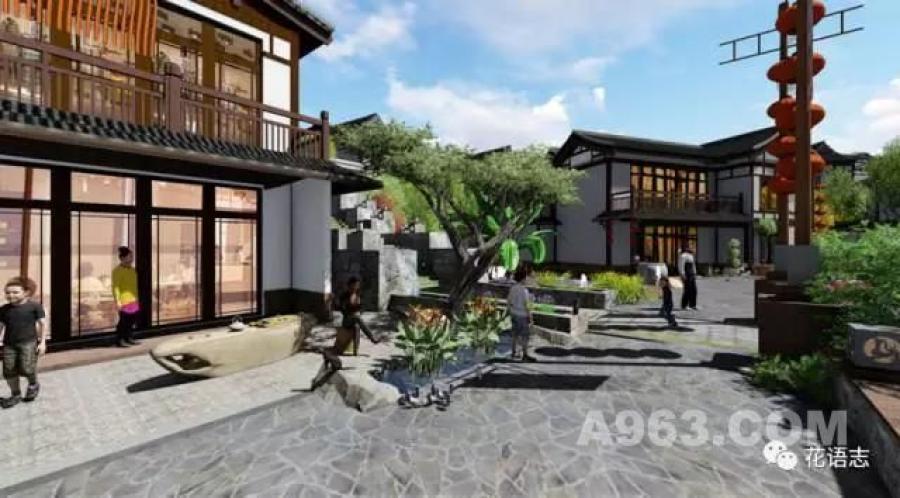 项目部分以中式合院住宅的形式,通过建筑,连廊与灰空间将庭院围合,将图片