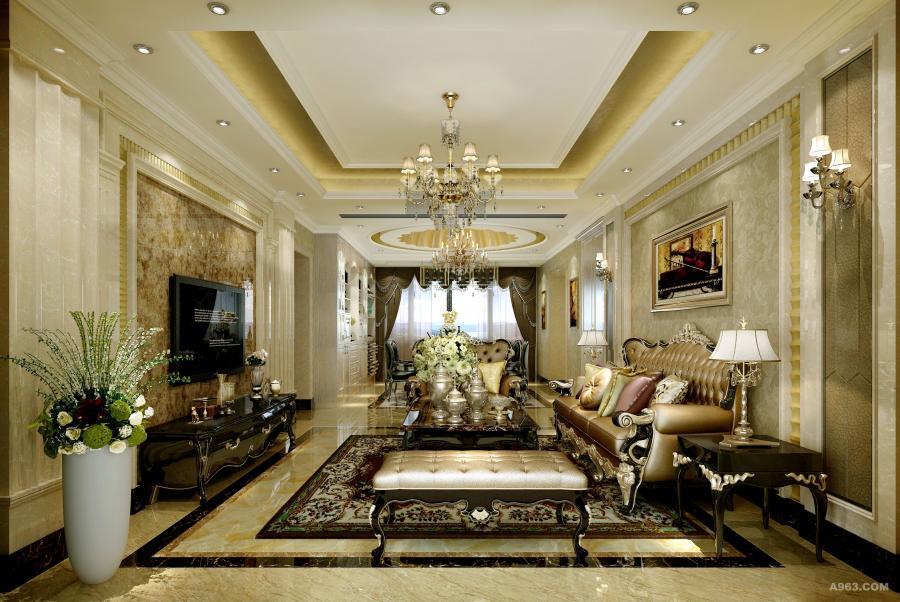 客厅是主人用来招待来宾的场所,也是展现品味的重点空间,因此除了在功能上要符合生活所需,设计师在背景造型和家居布局上也搭配一种丰富的语言。在家居选择上,尤其注重其与空间颜色的深浅对比。