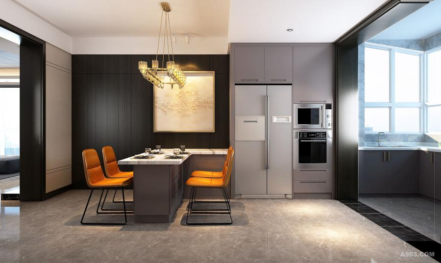 """【就餐区】 就餐区的设计融入更多的是功能的设计,小憩、阅读、水吧、收纳。灯光设计与色彩的碰撞也让这个小空间体现出""""家""""的温暖。"""