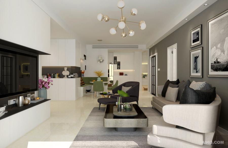 灯具造型独特,为空间增添时尚气质。