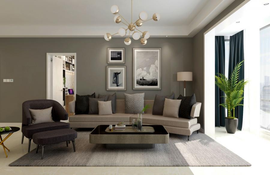 时尚组合沙发和壁画,线条色泽刚柔相济,时尚又不失温馨。
