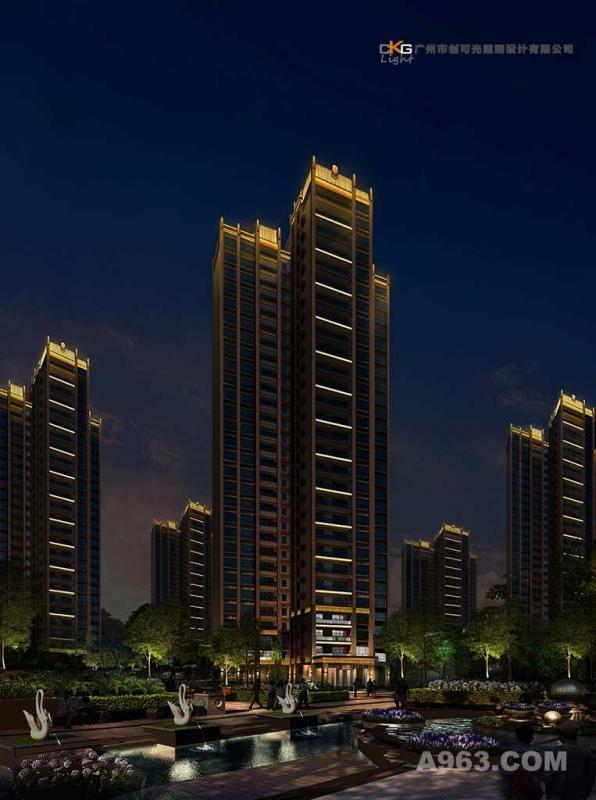 龙门小区夜景规划,住宅楼夜景设计,小区亮化,楼盘景观照明
