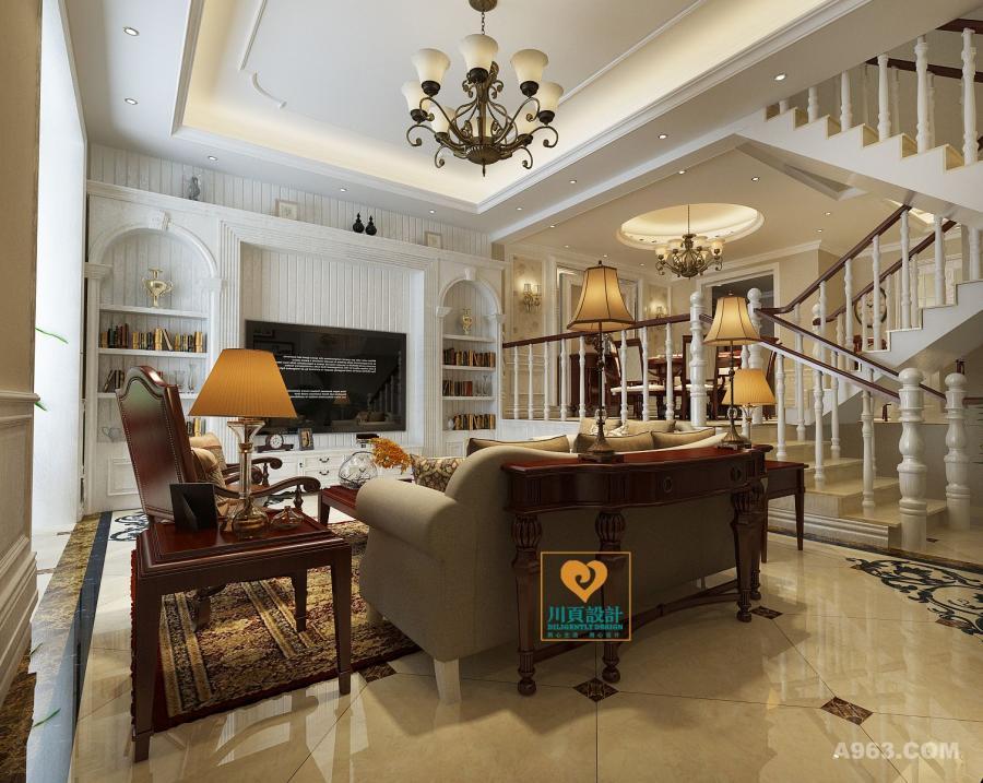 客厅的设计采用了大量的木线条装饰,以几何表达现代大气,并减少了枯燥;现代美式沙发以棕木和麻灰拼凑出典雅,让色彩塑造美式时尚;古铜吊灯的奢华与圆几的朴质以多元素渲染出大气。