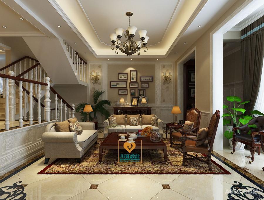 空间采用温暖的驼色打底,在光影流转中,洋溢着平和的恬淡;家具在色调上与墙面保持一致,局部拼接棕木,平添复古厚重感;印花地毯及墙纸与多彩挂画,让空间有了生动的趣意。