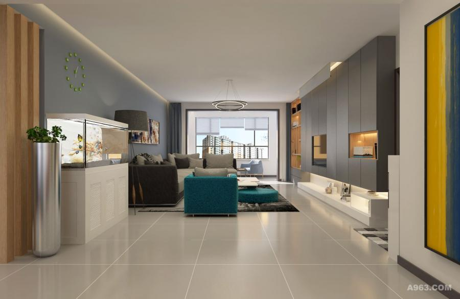 客厅空间,简洁大方,稳重又不失时尚。