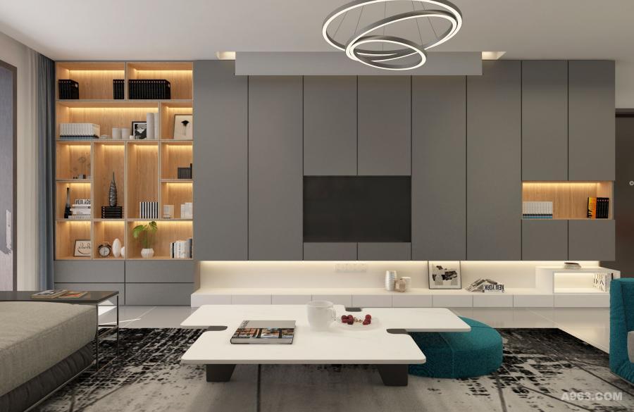 电视墙比较长,有空间,那么就做上柜子,收纳和展示。木色的柜体内板,温馨自然。