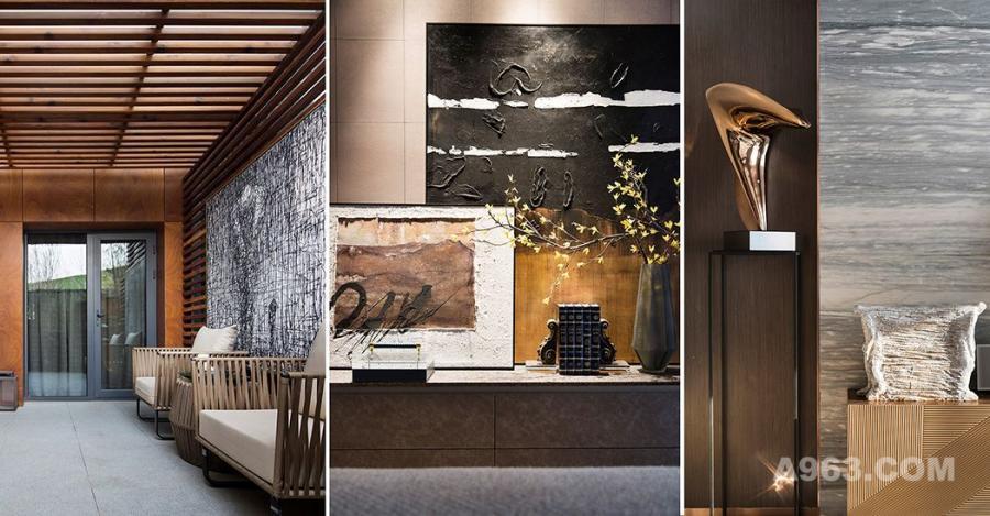 客厅与餐厅融为一体,一块灰黑色的格纹地毯巧妙划分了功能区,整体空间有童话式的场景感,也有着后现代主义的奇谲想象元素,将生活的多元趣味和仪式美感铺排陈列。