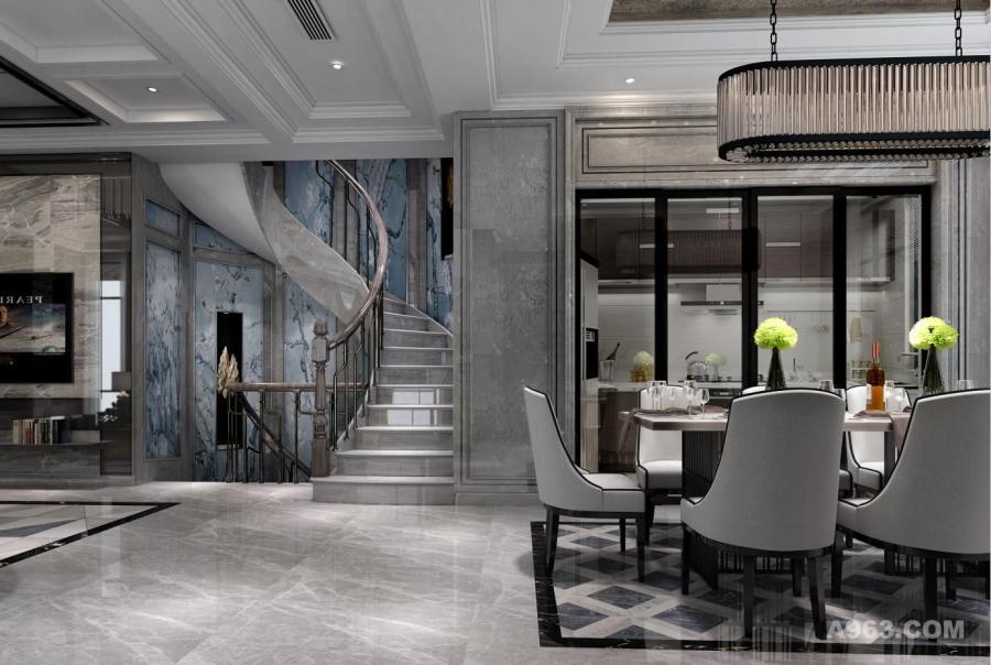 华贸东滩别墅项目装修新古典欧式风格设计,上海腾龙别墅设计师孙明安作品,欢迎品鉴
