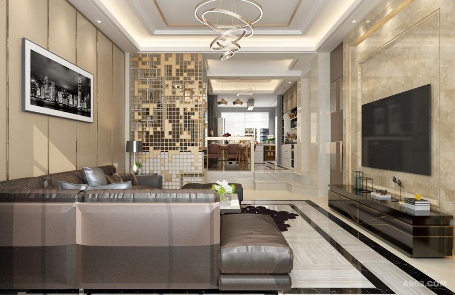 金属质感的吊灯与各种直线的金属边框,大理石的利用构成了现代风格特点。