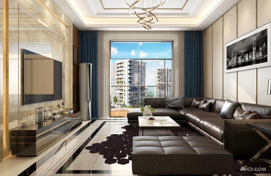 大气的皮质沙发和大理石材质的背景墙让客厅更加高雅。