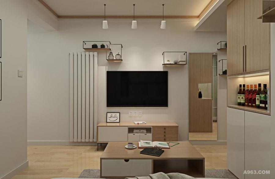不需要太繁复的造型,利用清爽的直线条和原木块面,来营造简约而不失温馨的氛围。