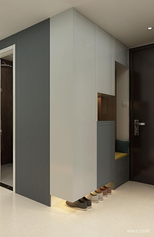 根据人工力学和家庭情况设计的鞋柜,让置换变得方便舒适。以黑与灰的几何线性展示本真的美。