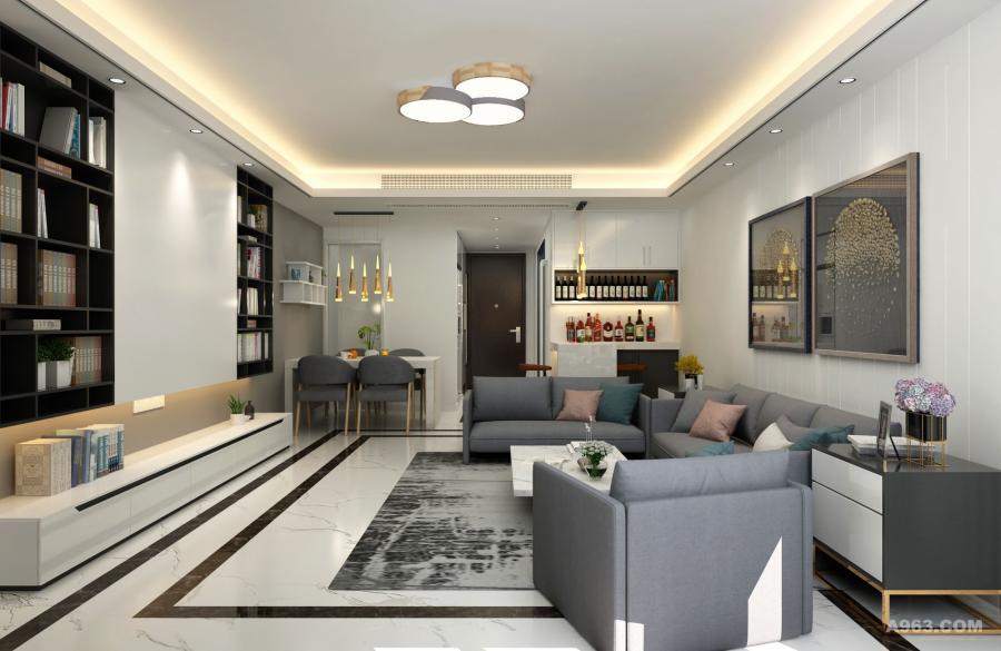 壁画和吊灯展现时尚的气息。空间宽敞便利宜居。
