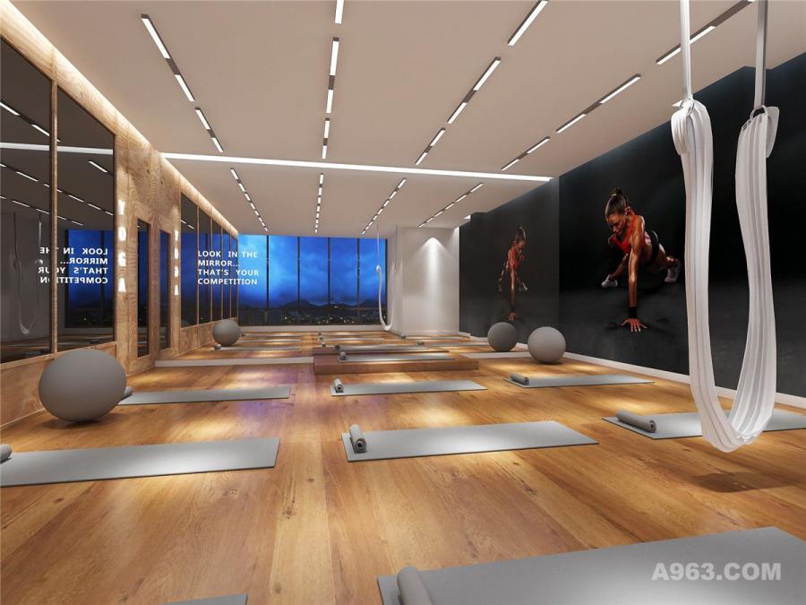 郑州健身房装修设计公司案例-中奥时尚健身房装修设计效果图