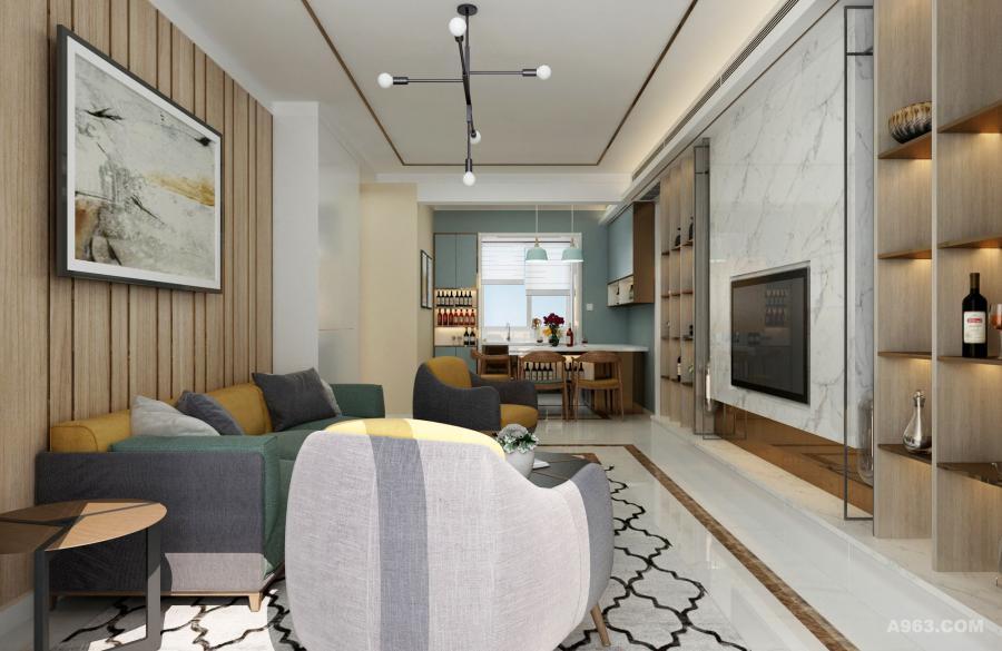 以简洁的形式、浅亮的颜色、大理石和钢木等材料来塑造一个舒适的家居环境。