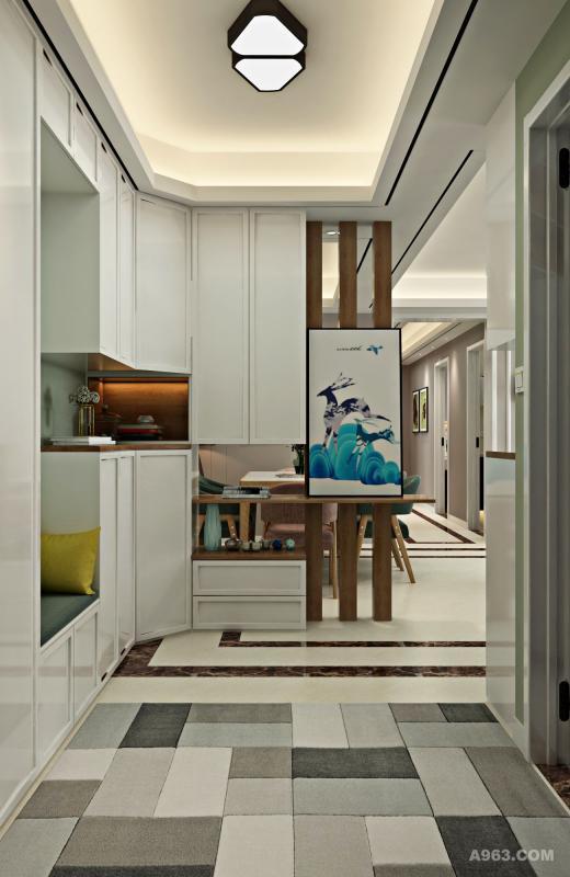 很花心思的门厅设计,柜体和隔断的功能,鞋帽柜、换鞋凳、穿衣镜、美美的玄关造型,让这个小空间功能与颜值并重。