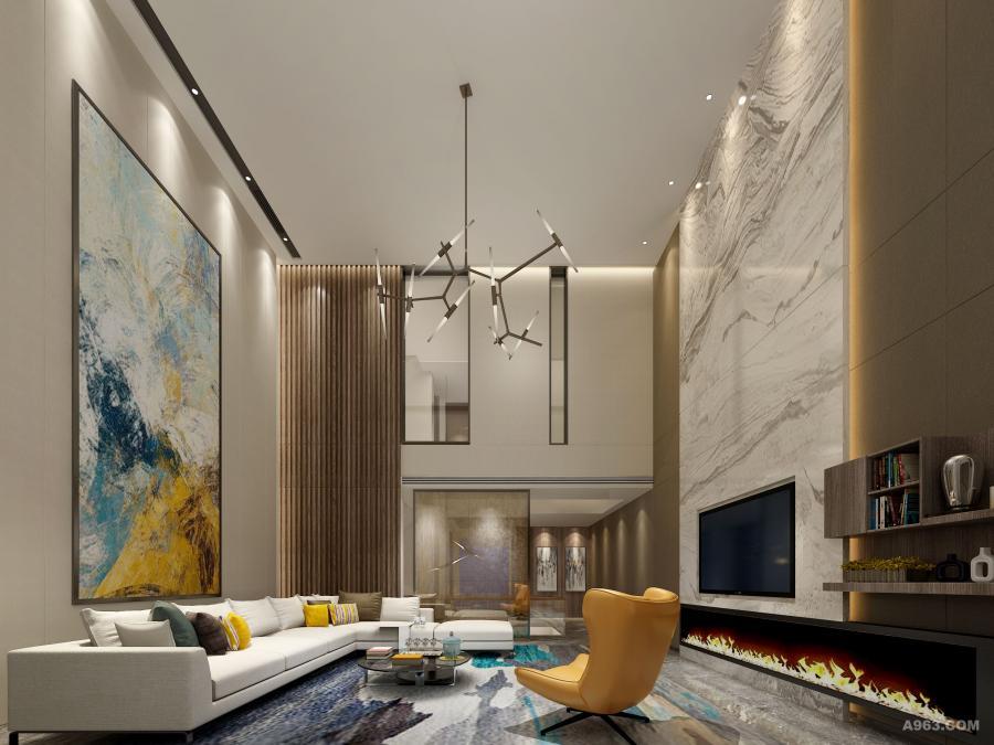 客厅,悬空高挑的层高,让高大上与之产生遐想。时尚元素在这个空间无处不在,爱马仕橘的单人沙发,蒂芙尼蓝的挂画点缀,再加上金属元素带来bling bling 的若隐若现闪光,配合木格栅,水墨画的理石纹,让摩登充满生活。