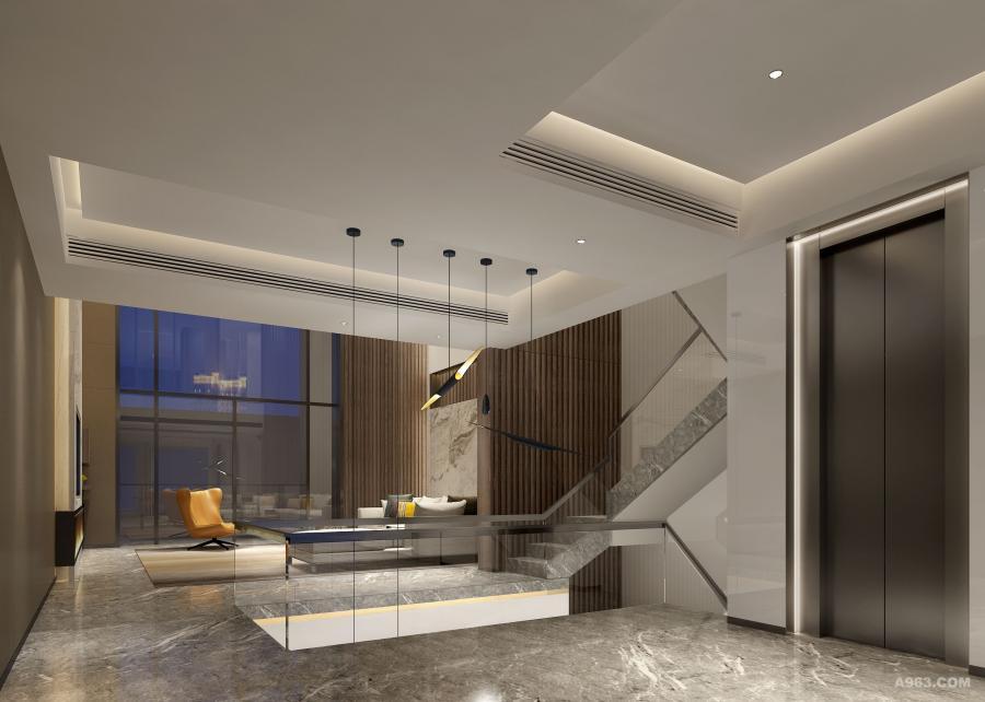 楼梯以及电梯处,透明玻璃搭配不锈钢扶手,极简线条更显易清理的特质,干净,简单,又不失格调。