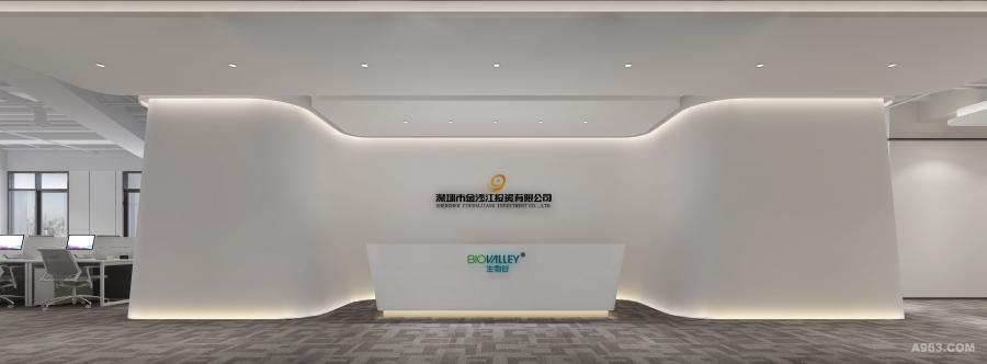 入口正对的半围合式企业品牌形象墙,担负办公空间中心枢纽角色。纯净的白色墙面将企业名称烘托得格外醒目,极富动态的弧线型造型墙将开放空间有机串联,强化秩序的同时又不至于单调。流线型灯光线条构成丰富有趣的视觉层次,也让到访者留下一个强烈的企业印象。