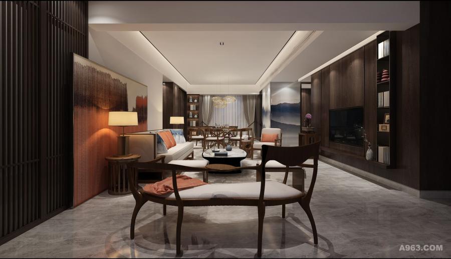 客厅结合人文底蕴、现代审美,赋予空间清透的风韵。通过对空间结构与比例的细致推敲,将东方元素与现代材质巧妙兼糅,借助东方水墨画以及少量橙色软配,跳跃色泽、层次的搭配,呈现视觉交织的美感。线条感极强的胡桃木家具与硬装中木栅隔断亦相得益彰。