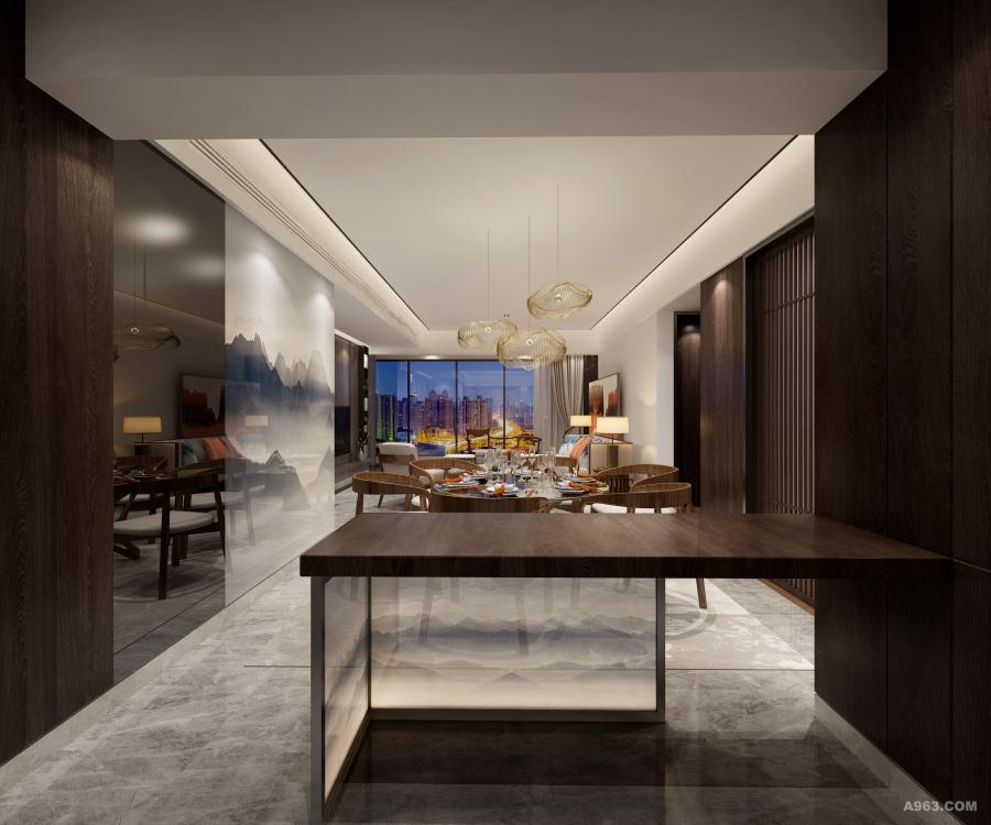 客餐厅中,一桌、一椅,数点墨色,均凝聚着空间的形与神,见证着窗外的日月星辰。餐桌上主人的餐具排列有序,颇具艺术感的吊灯错落有致,无一不涵盖新东方设计中的层序美。