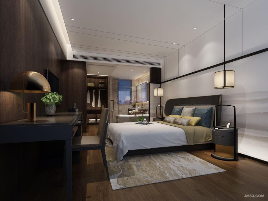 主卧选择的围背床,两侧回环如臂弯怀抱,供人倚靠,给人专属包围感。地毯的布置,不仅方便了居室生活,还在视觉上延长了整个床品的线条,尽显尊贵奢华质感。经典的纯白色是卧室必备单品。在每个阳光明媚的早上,都能感受到闲居生活轻松快意的美好体验。