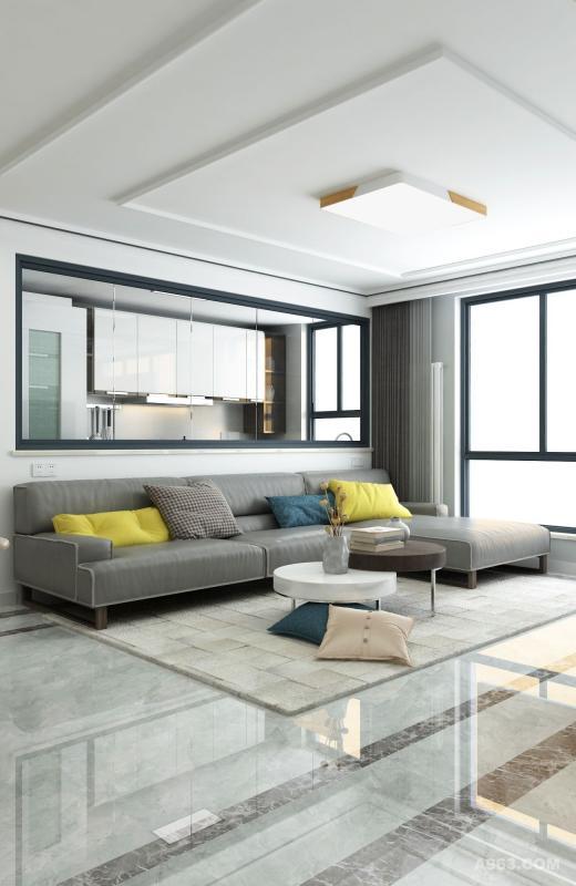 沙发背后是厨房区域,隔墙的上部分用的是透明玻璃。这样设计能更加充分地利用自然光,让空间显得更加清亮,也可以和厨房的大厨进行无声胜有声的交流。