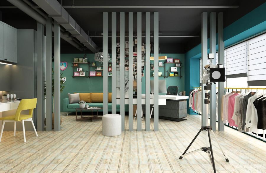 待客区,用方木做简单的隔断,既可以让等待区的客户欣赏摄影区,又不至于干扰拍摄工作。