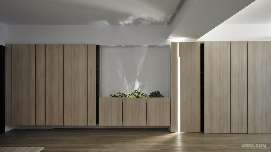 藉由櫃體、門片造型、坎入的黑烤玻和置入的光條作視覺背景,相映出淺深交織的明暗植影。