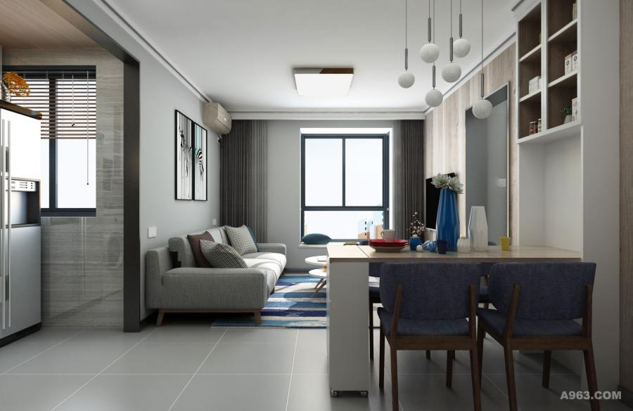 瓷砖和乳胶漆选用雅致的灰调,壁画、吊灯和摆件的点缀,恰到好处的营造时尚前卫、气质优雅且不失温馨舒适的感觉。