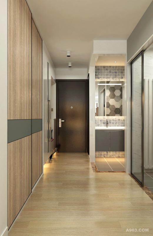 入户右手边设计鞋帽柜和衣帽间,左手边依次是卫生间和厨房。