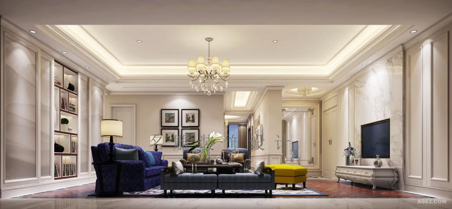 客厅整体空间以白色,米色,蓝色以及黄色为主体点缀整个空间,使其充满生命活力,张扬又不失尊贵典雅和品质感。