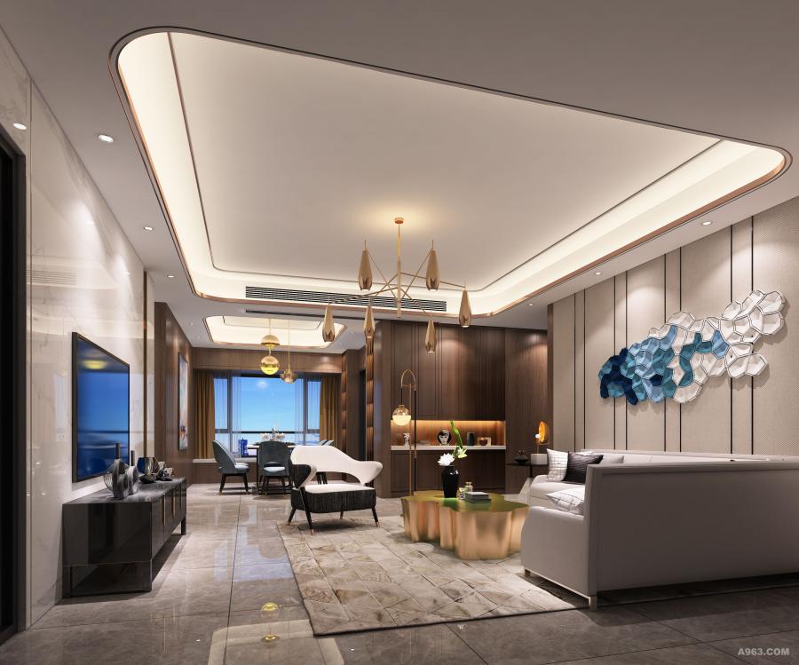客厅整体空间以灰色为主轴,无论是大理石,瓷砖,胡桃木等,皆加入灰色调,灰色在空间为中性色彩,本身并无明确个性及重量,透过灰度使空间更加沉稳与富设计感
