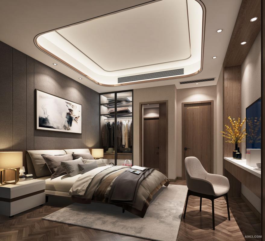 卧室空间让你感受空间低调而质感的格调,以及和谐无压的居室环境。