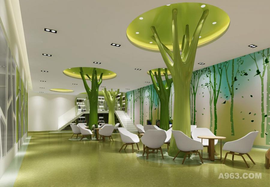 早教中心设计装修图-大厅家长休息区设计装修图