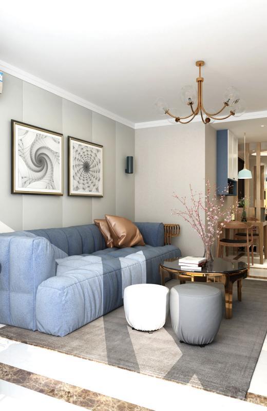 柔软舒适的布艺沙发让人窝着不想动。