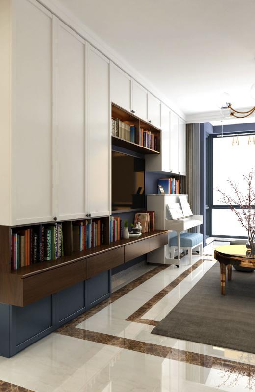 电视柜又是书柜,同时又增加了储物柜,扩容了储物空间。