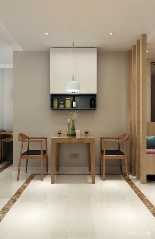 餐厅空间不大,摆放折叠餐桌,实用又省空间。