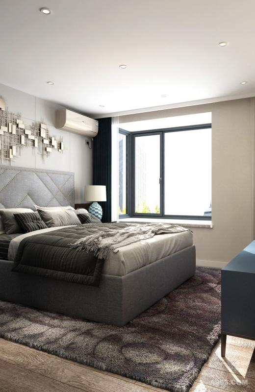 地毯和床上布艺舒适温柔,台灯底座造型和壁饰呼应,提升空间艺术感。