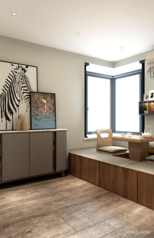 次卧边柜门板、装饰画纹理和地板呼应,增加复古文艺气息。