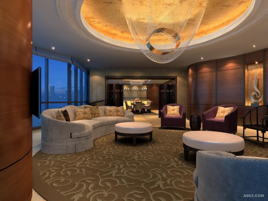 客厅 整个客厅以暖色调为主,显示了对顾客的热情圆形的地毯勾勒出了空间的流动性让整个客厅有动态起来的效果。浅灰色的沙发和整个客厅的墙壁颜色搭配起来,给人蛮舒服的感觉。 以暖色调为主的客厅低调中又不失优雅,虽然色彩不鲜明但却很温馨,和餐厅过渡完美的过渡。