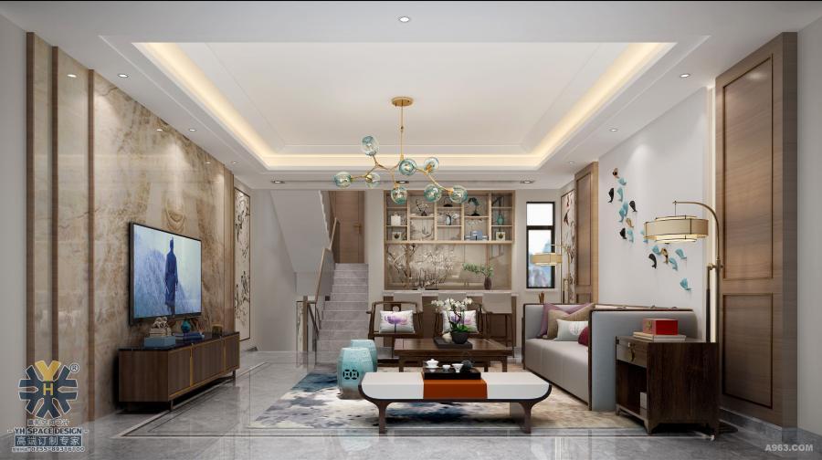 设计师运用国画文化为主题设计,并使之成为贯穿于整个空间的一大特色。好的风水世人所求,好的字画亦惠泽八方。客厅的空间处理简洁利落,宽敞明亮。