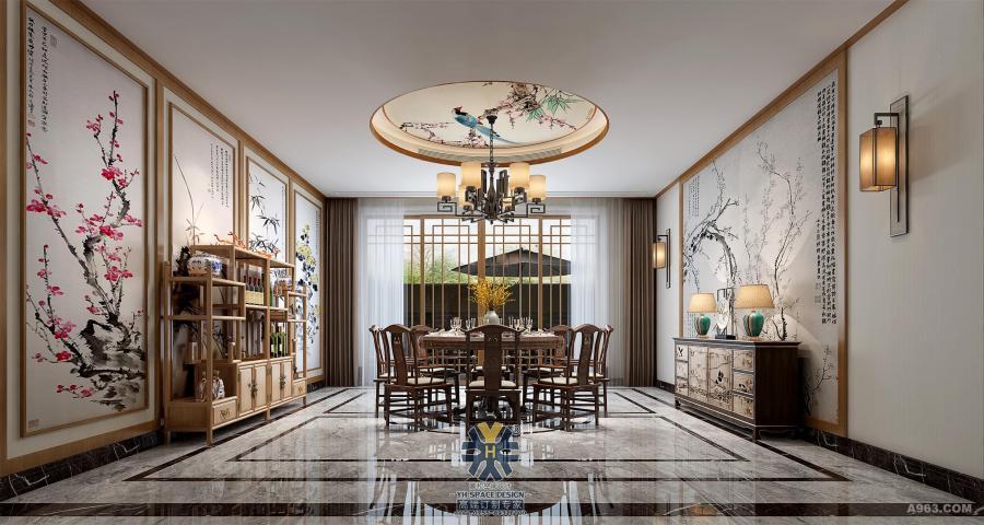 延用传统的明清实用家具,用简约而时尚的灯饰来追赶潮流,使整个空间在色彩上和谐融洽,用纤细的线条从顶面垂顺而下,用留白的墙面做餐厅背景,花鸟立体画用于点缀,立显灵气动人,彰显出高雅的空间格调。光的照射下,餐桌上的植物将生机溢满整个静怡的空间,仿佛听见林间的花鸟在互相追逐嬉戏。